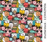 pattern with hand drawn doodle... | Shutterstock .eps vector #1154429056