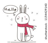 cute bunny with say hello for... | Shutterstock .eps vector #1154429140