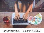 top view of teenager working on ...   Shutterstock . vector #1154442169