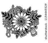 beautiful handdrawn flowers.... | Shutterstock .eps vector #1154445529