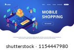 isometric users buying online... | Shutterstock .eps vector #1154447980
