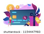 debit card  gift box and users. ... | Shutterstock .eps vector #1154447983
