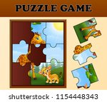 jigsaw puzzle game with happy... | Shutterstock .eps vector #1154448343