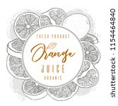 ink hand drawn frame of orange... | Shutterstock .eps vector #1154464840