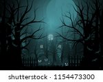happy halloween background and... | Shutterstock .eps vector #1154473300