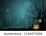 happy halloween background and... | Shutterstock .eps vector #1154473303