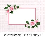 pink rose flowers and green... | Shutterstock . vector #1154478973