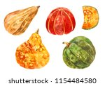 many different pumpkins.... | Shutterstock . vector #1154484580