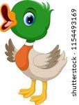 cute baby duck waving cartoon   Shutterstock . vector #1154493169