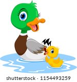 mother duck swims with her... | Shutterstock . vector #1154493259