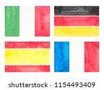 set of watercolor flags.... | Shutterstock . vector #1154493409