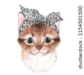 cute cat wearing bandana.... | Shutterstock . vector #1154501500