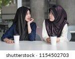 muslim woman talking  islam  or ... | Shutterstock . vector #1154502703