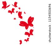 beautiful red butterflies ... | Shutterstock .eps vector #1154503696