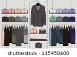 the clothes for men are hanged... | Shutterstock .eps vector #115450600