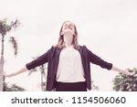 closeup portrait of happy young ...   Shutterstock . vector #1154506060
