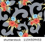 vector flowers bunches pattern...   Shutterstock .eps vector #1154509453