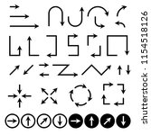 black flat arrows set. vector... | Shutterstock .eps vector #1154518126