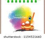 happy janmashtami. indian... | Shutterstock .eps vector #1154521660