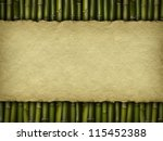 Crumpled paper sheet on bamboo background - stock photo