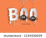 paper art style of halloween...   Shutterstock .eps vector #1154530039