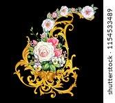 golden arabesque with roses  | Shutterstock . vector #1154533489