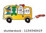 bus happy halloween with creepy ... | Shutterstock .eps vector #1154540419