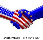 handshake with flags of usa and ... | Shutterstock .eps vector #1154541430