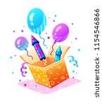 birthday party. gift box with... | Shutterstock .eps vector #1154546866