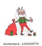 cute happy hipster santa claus... | Shutterstock .eps vector #1154549779