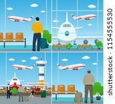 set of airport image  waiting... | Shutterstock .eps vector #1154555530