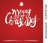 merry christmas text on red... | Shutterstock .eps vector #115455760