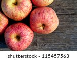 top view of ripe red apples on... | Shutterstock . vector #115457563