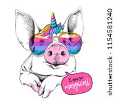 cute pig in a unicorn mask ... | Shutterstock .eps vector #1154581240