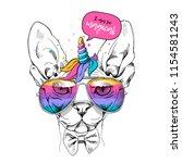 cute sphynx cat in a unicorn... | Shutterstock .eps vector #1154581243