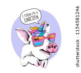 cute pig in a unicorn mask ... | Shutterstock .eps vector #1154581246