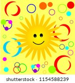 happy smiling sun pattern.... | Shutterstock .eps vector #1154588239