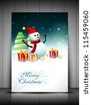 happy snowman wearing santa hat ... | Shutterstock .eps vector #115459060