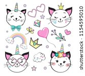 cute funny cat and unicorn... | Shutterstock .eps vector #1154595010