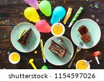 chocolate cake and decoration... | Shutterstock . vector #1154597026