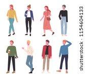 fashionable men and women hand... | Shutterstock .eps vector #1154604133