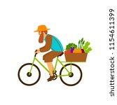 farmer delivers fresh organic... | Shutterstock .eps vector #1154611399
