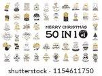 merry christmas. 50 in 1  part... | Shutterstock .eps vector #1154611750