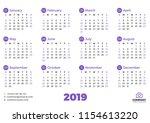 simple calendar template for... | Shutterstock .eps vector #1154613220
