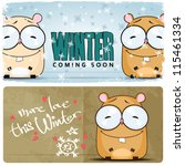 winter vector card with funny... | Shutterstock .eps vector #115461334