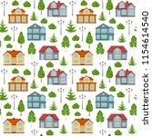 flat style seamless pattern... | Shutterstock .eps vector #1154614540