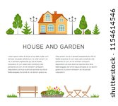 house and garden poster  banner ...   Shutterstock .eps vector #1154614546