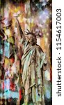 oil on canvas. statue of... | Shutterstock . vector #1154617003