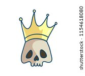 king of the death. skull with... | Shutterstock .eps vector #1154618080