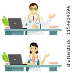 medicine concept with doctor in ... | Shutterstock .eps vector #1154624596